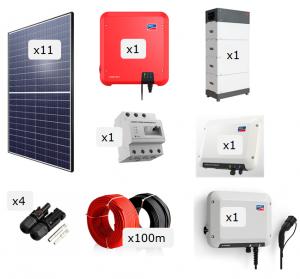Kit Fotovoltaica + Bateria + Carregador VE 4.000 W
