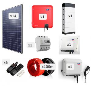 Kit Fotovoltaica + Bateria + Carregador VE 5.000 W